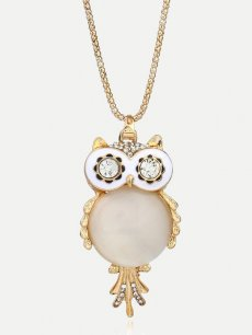 Owl Rhinestone Gold Pendant Necklace