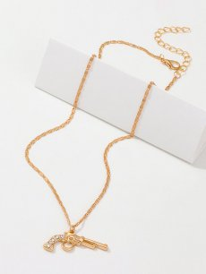 Gun Rhinestone Gold Chain Necklace