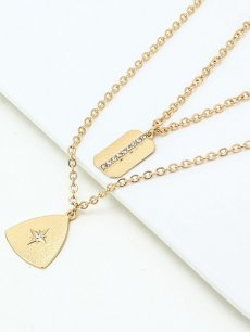 Geometric Gold Layered Pendant Necklace
