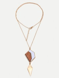 Geometric Gold Pendant Necklace