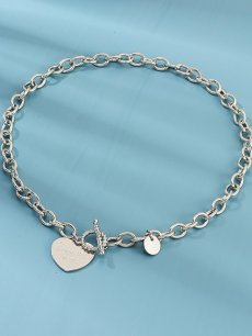 Heart Letter Silver Choker Necklace