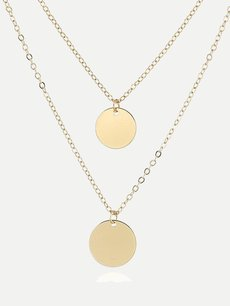 Circle Layered Chain Pendant Necklace