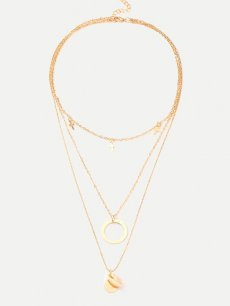 Shell Circle Cross Gold Layered Necklace