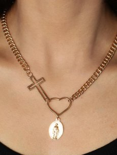 Cross & Heart Chain Pendant Necklace