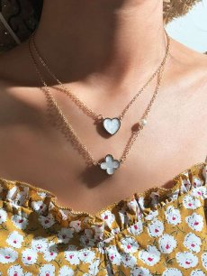Flower & Heart Gold Layered Necklace
