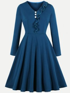 60s Blue Ruffle A Line Dress