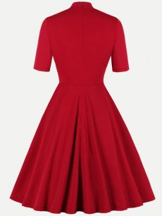 50s Red High Neck A Line Dress