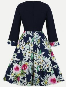60s Navy Floral Print Swing Dress