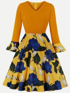 60s Yellow Floral A Line Dress
