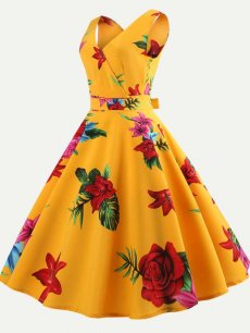 60s Vintage Floral Print Sleeveless Dress