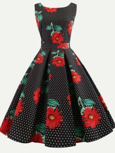 60s Floral Polka Dots Sleeveless Dress