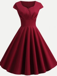 60s Rockabilly Solid V Neck Swing Dress
