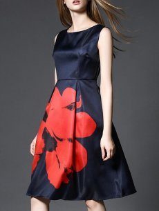 60s Navy Floral Print Sleeveless A-line Prom Dress