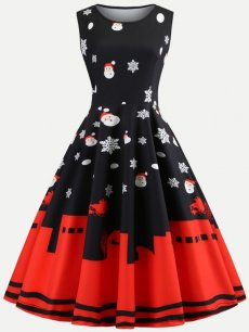 50s Rockabilly Black Christmas Dress
