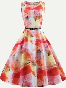 50s Retro Floral Print Belted Dress