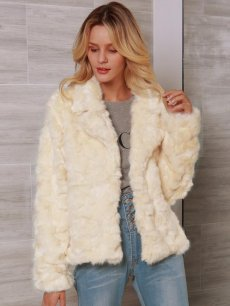 Cream Open Front Faux Fur Coat