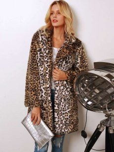 Leopard Long Faux Fur Coat