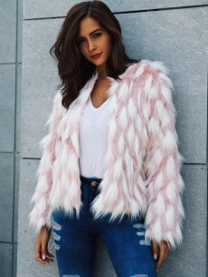 Pink Color Block Faux Fox Fur Coat