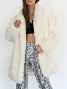 Solid Open Front Long Faux Fur Coat