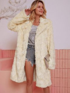 Beige Open Front Long Faux Fur Coat