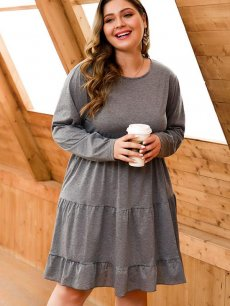 Plus Size Casual Grey A-line Dress