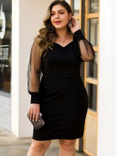 Plus Size Black Mesh Bodycon Dress