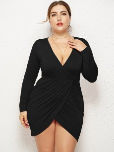 Plus Size Bodycon Wrap Fitted Dress