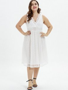 Plus Size Solid Guipure Lace Sleeveless Dress