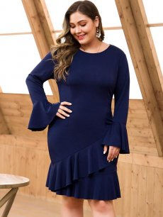 Plus Size Navy Bodycon Ruffle Dress