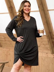 Plus Size Casual Grey Knot Bodycon Dress