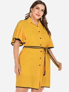 Plus Size Yellow Belted Ruffle Sleeve Dress