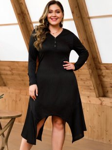 Plus Size Black Irregular Hem Dress