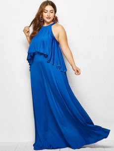 Plus Size Halter Neck Ruffle Maxi Dress