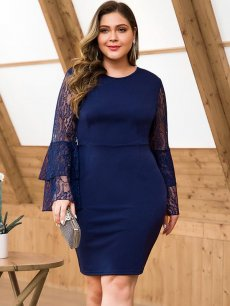 Plus Size Navy Lace Long Sleeve Bodycon Dress