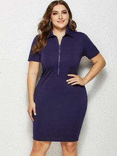 Plus Size Solid Bodycon Pencil Dress