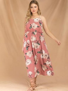 Plus Size Pink Slip Floral Maxi Dress