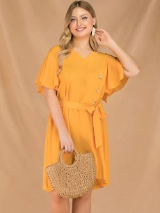 Plus Size Vintage Yellow Ruffle Dress