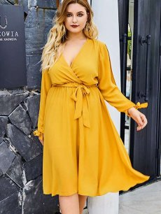 Plus Size Yellow Casual Midi Dress