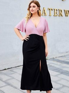 Plus Size Color Block Ruffle Slit Bodycon Dress