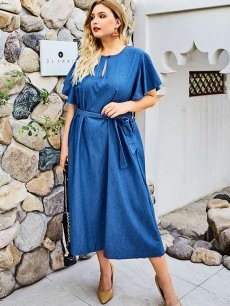 Plus Size Blue Ruffle Sleeve Denim Dress