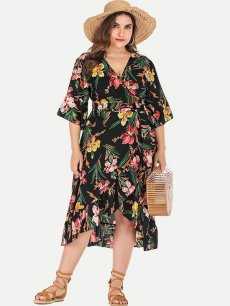 Plus Size Black Floral Wrap Dress