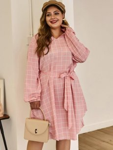 Plus Size Pink Irregular Plaid Dress