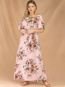 Plus Size Pink Floral Maxi Dress