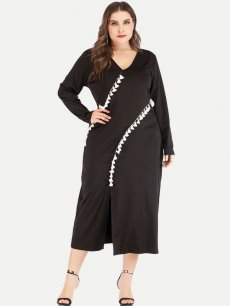 Plus Size Black Slit Maxi Dress