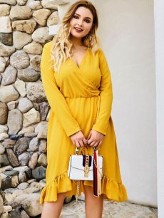 Plus Size Yellow Ruffle Wrap Dress