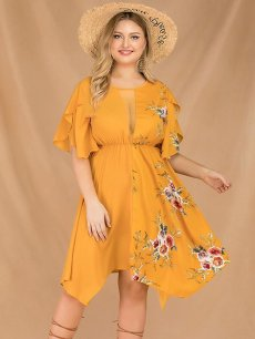 Plus Size Yellow Floral Print Irregular Dress