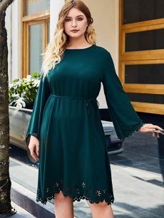 Plus Size Green Hollow Long Sleeve Dress
