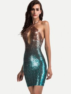 Colorful Halter Backless Sequin Bodycon Mini Dress