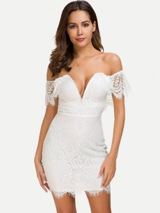 Solid V Neck Lace Bodycon Sexy Dress