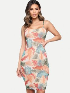 Leaves Print Bodycon Cami Dress